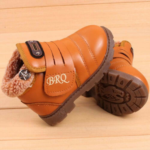 Baby Girl Boys Kids Winter Warm Thick Fur Snow Boots Leather Shoes Waterproof KP