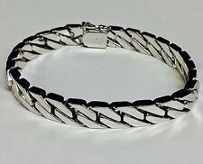 """10kt Solid WHITE Gold Handmade Curb Link Mens Bracelet 8.5"""" 43 Grams 8 MM"""
