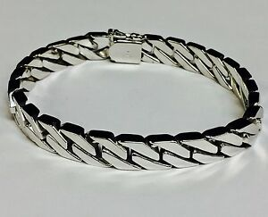 Image Is Loading 14kt Solid White Gold Handmade Curb Link Mens