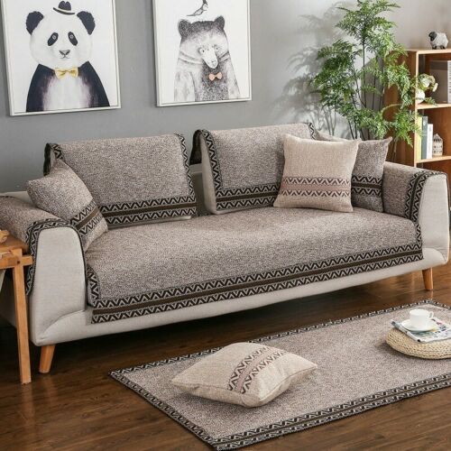 Cotton Linen Fabric Sofa Cover Modern Style Soft Slip Solid Color Couch Seat