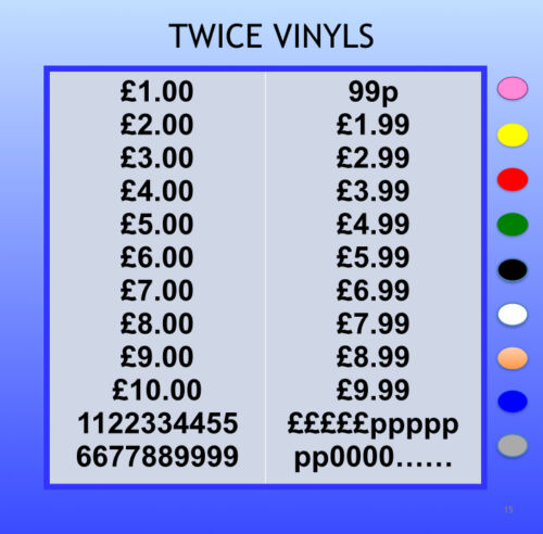 STICKY NUMBERS ARIAL 20mm OR 25mm high MONEY set any colour cardmaking