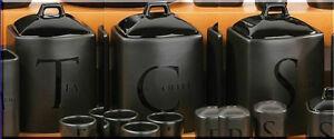 Tea-Coffee-Sugar-Jar-Set-Kitchen-Storage-Canisters-Black-Ceramic-Lids-Handles