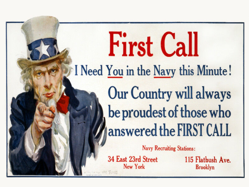 Vintage War POSTER.Uncle Sam Navy.Wall art Decor.Home interior decoration.1078