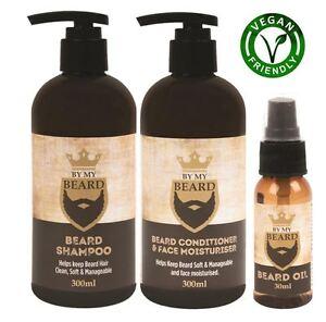 Details about By My Beard Shampoo, Oil, Conditioner & Moisturiser Mens Gift  Set - Vegan