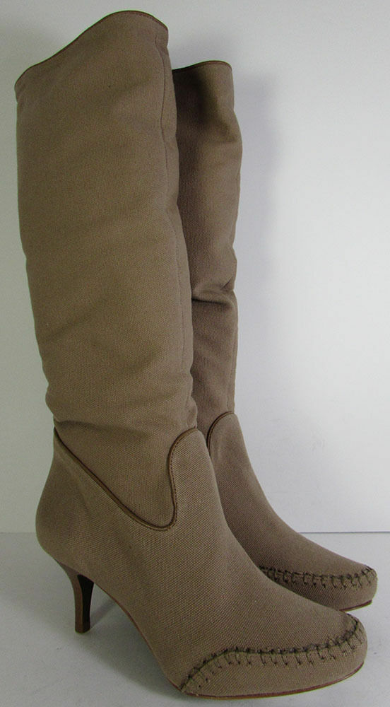 BCBG Maxazria Lexy Moc Toe Knee High Canvas Brown Boots Sz 8.5 MSRP see notes