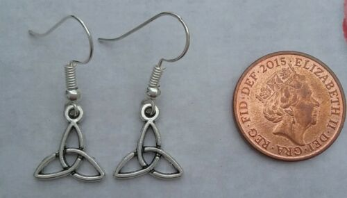 Tibetan Silver CELTIC TRIANGLE EARRINGS with Silver Plated Wire Hook Present.