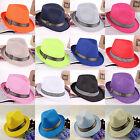 C Unisex Fashion Summer Beach Trilby Fedora Straw Panama Sun Hat Cuban Style Cap