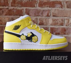 Dramaturgo Mago amenaza  Nike Air Jordan 1 Mid SE GS Floral Yellow Rose White Black AV5174-700 Size  | eBay