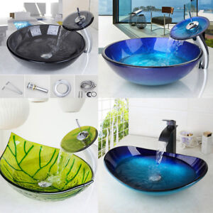 US-Round-Oval-Bathroom-Glass-Vessel-Basin-Sinks-Bowl-amp-Brass-Mixer-Faucet-Combo