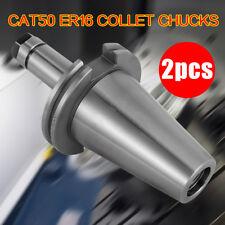 2pcs Collet Chuck Cat50 Er16 End Mill Holders Holder Set Hardened Ground Tool