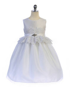 Elegant-White-Lace-Waist-Flower-Girl-Communion-Party-Dress-Crayon-Kids-USA