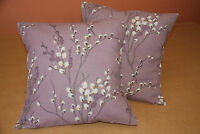 TWO  HANDMADE CUSHION COVERS IN LAURA ASHLEY PUSSY WILLOW GRAPE