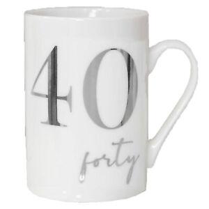 Blanco Taza de Porcelana China con Plata Aluminio Número - 40th Forty Birthday
