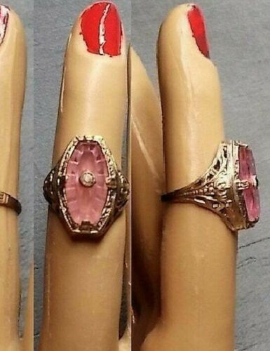 Antique Pink Camphor Glass Ring, Edwardian Etched