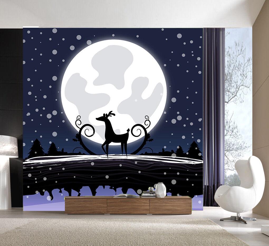 3D Moon Elk Snow 562 Wallpaper Murals Wall Print Wallpaper Mural AJ WALLPAPER UK