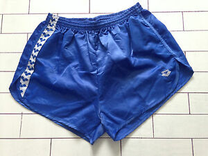 Herren-Vintage-Retro-blau-Sprinter-oldschool-High-Cut-Shorts-Groesse-L-XL-112