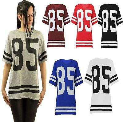 Adaptable Womens 85 Print Varsity T Shirt Oversize American Baseball Baggy Jersey Top