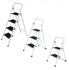 2 3 4 Step Ladder Folding Safety Non Slip Stepladder Foldable Kitchen Loft Home