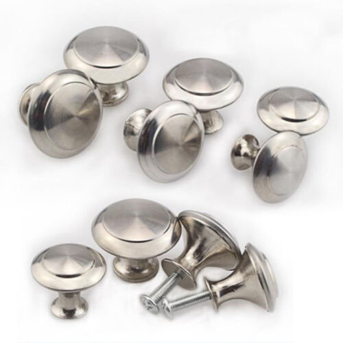 10Pcs Stainless Steel Round Pull Knobs Handles Cabinet Drawer Cupboard Hardware