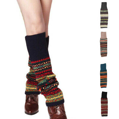 New Women Striped Knitted Leg Warmers Footless Knee High Fashion Boot Socks Call