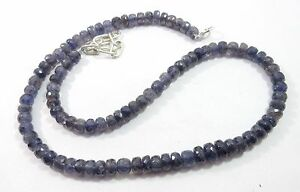 181.00 Ct 6.5-8mm Natural Iolite Gemstone Rondelle Faceted Beads NECKLACE S116