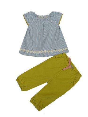 Mini Boden baby girls play set applique daisy top  and soft trousers  0-3 years