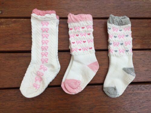SET of 3 × Gorgeous Frill Toddler Kids Girl Skid Cotton Socks 1-3 years old