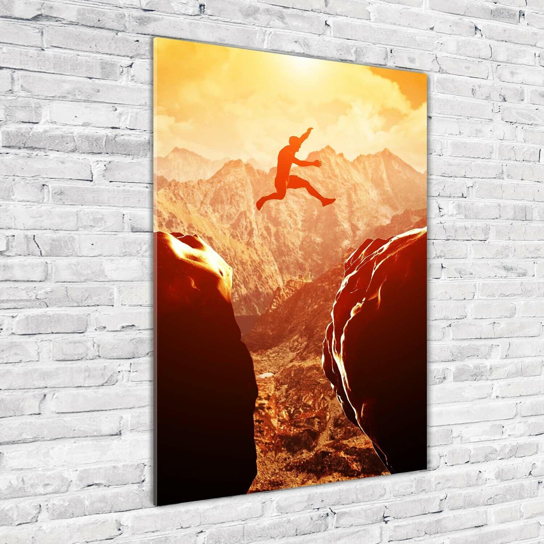 Wand-Bild Kunstdruck aus Acryl-Glas Hochformat 70x100 Sprung Abgrund