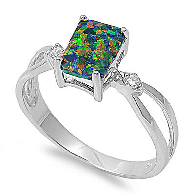 .925 Sterling Silver Synthetic Black Opal Emerald Cut CZ Promise Ring Size 5-10