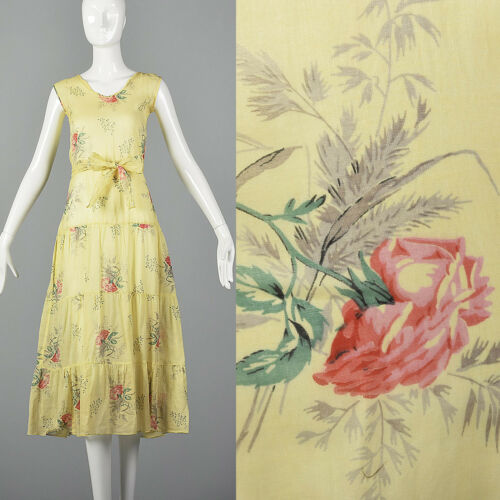 XXS 1930s Dress Sheer Yellow Day Dress Large Rose