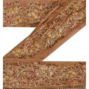 Sewing Antiques Sanskriti Vintage Sari Border Indian Craft Orange Trim Hand Beaded Ribbon Lace