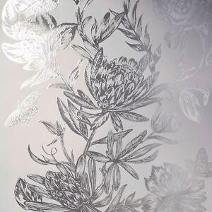 Couronne-Luxe-Mayfair-Kew-Floral-Papier-Peint-Argent-M1473-Neuf