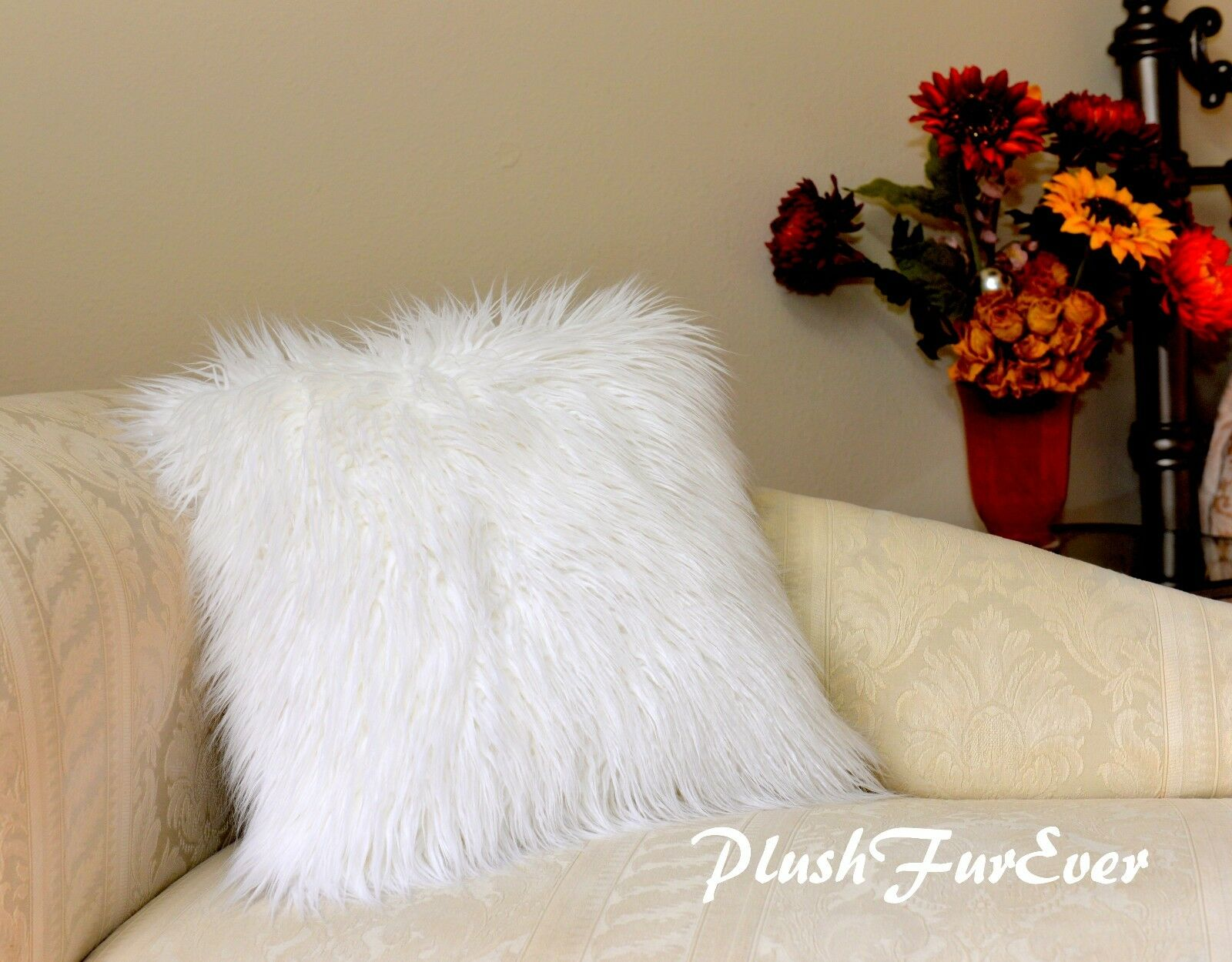 Pair 20  x 30  Pillow Covers Weiß Frost Plush Mongolian Fur Both Side w Zipper