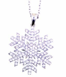 3-5cm-Silber-und-klar-Kristall-Schneeflocke-Anhaenger-Halskette