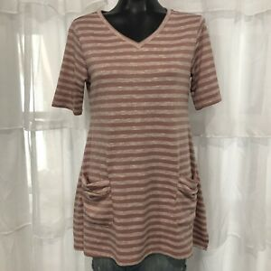 SMALL Womans LOGO LORI GOLDSTEIN Pink Striped Short Sleeve Tunic Top