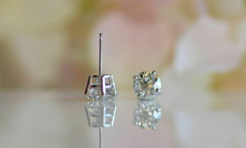 Details about  /0.75cts Round Moissanite Sterling Silver Stud Earrings 14k White Gold Finish
