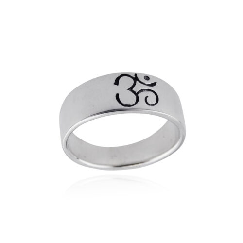 Engraved 7mm Sizes 6-10 Ohm Aum Yoga 925 Sterling Silver OM Symbol Ring Band