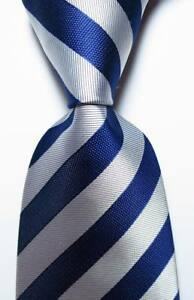 New-Classic-Striped-Dark-Blue-Silver-Gray-JACQUARD-WOVEN-Silk-Men-039-s-Tie-Necktie