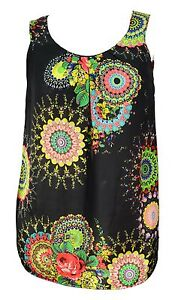 Womens-New-T-Shirt-Top-Black-Yellow-Multi-Print-Sleeveless-Ladies-LICK