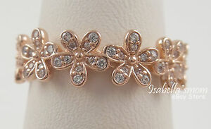 9cdecb2ba2488 Details about DAZZLING DAISY Authentic PANDORA Rose GOLD Plated Band RING  6/52 180934CZ NEW!