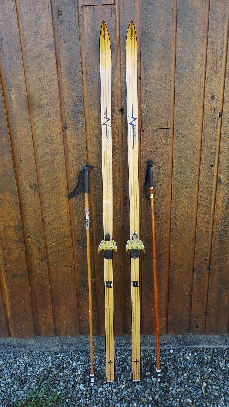 Vintage Wooden 74  Long Skis  BLOND Finish Signed CLEMENT + Poles