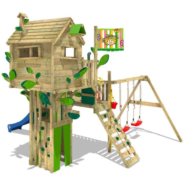 Wickey Smart Treetop Wooden Climbing Frame Doubleswingset Slide Treehouse Play