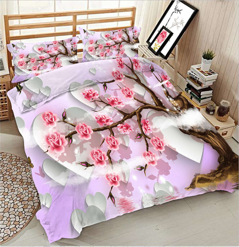 Branches Of Plum 3D Printing Duvet Quilt Doona Covers Pillow Case Bedding Sets