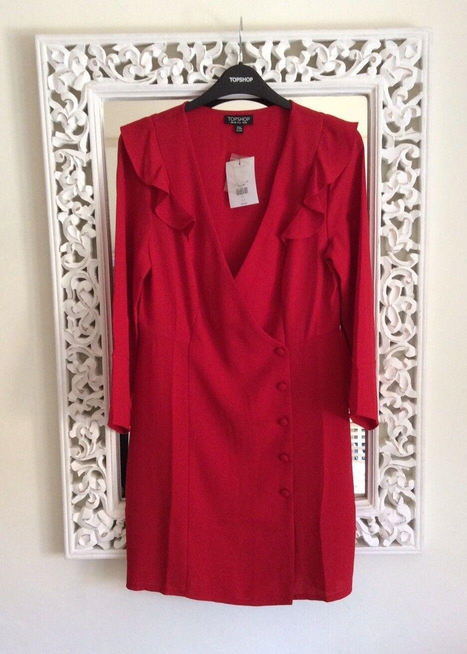Topshop Red Mini Ruffle Wrap Dress, UK Size 8 New