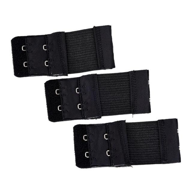 6bb30c1626 3pcs Woman 2 x 2 Hook and Eye Tape Elastic Extension Bra Extender Black New