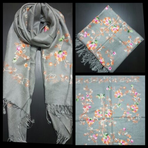 STUNNING WOMENS  FLORAL Embroidered Pashmina Feel Scarves Shawl Stole Wrap Head