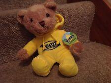 NWT Peeps yellow teddy bear plush  .  2015   . with hoodie
