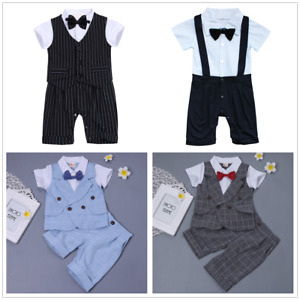 948436e71 Baby Boys Gentleman Tuxedo Wedding Romper T-shirt Shorts Pants Bow ...