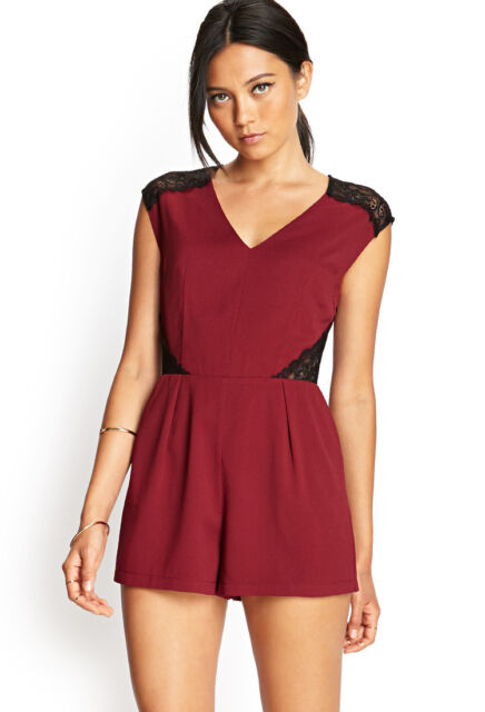 066efd4ab773 Forever 21 Lace Romper Burgundy Size M for sale online