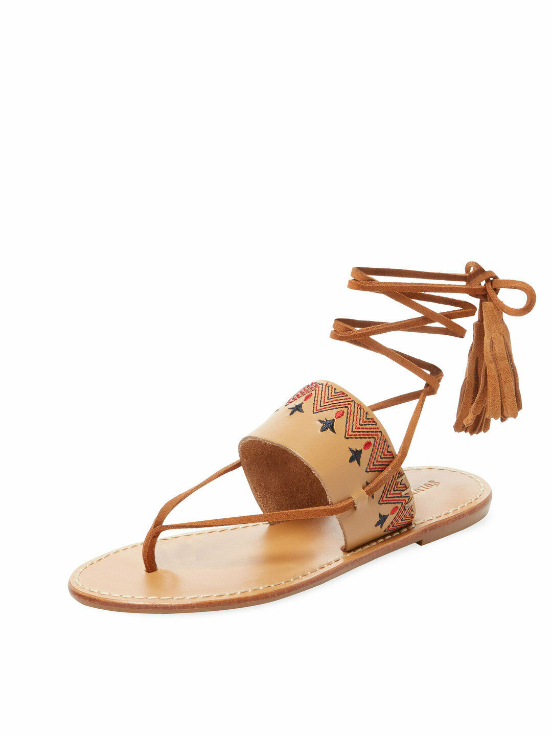 SOLUDOS Embroidered Tan Leather Lace Up Sandals Size 9  89 MSRP